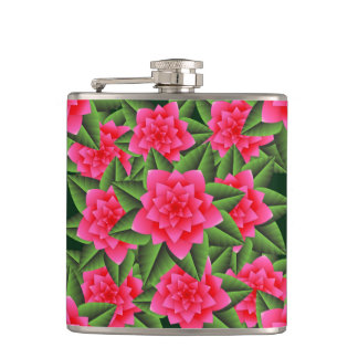 Coral Pink Camellias and Green Leaves Hip Flask
