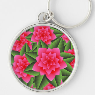 Coral Pink Camellias and Green Leaves Key Chains