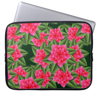 Coral Pink Camellias and Green Leaves Laptop Computer Sleeves