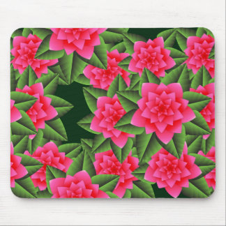 Coral Pink Camellias and Green Leaves Mouse Pad