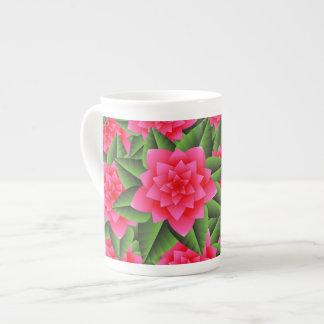 Coral Pink Camellias and Green Leaves Bone China Mug