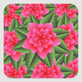 Coral Pink Camellias and Green Leaves Square Sticker