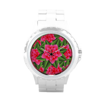 Coral Pink Camellias and Green Leaves Watches
