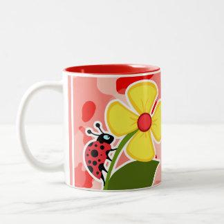 Coral Pink Camo; Ladybug Two-Tone Mug