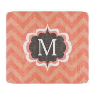 Coral Pink Chevron Pattern Custom Monogram Cutting Board