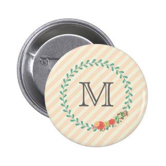 Coral pink decorative floral wreath monogram 6 cm round badge