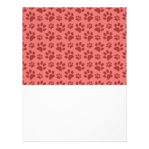 Coral pink dog paw print pattern custom flyer