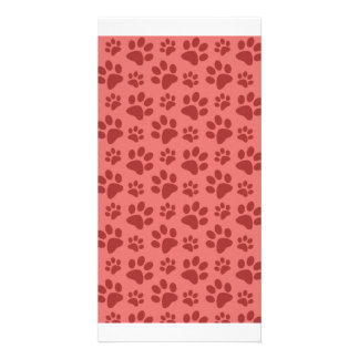 Coral pink dog paw print pattern personalized photo card