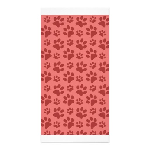 Coral pink dog paw print pattern photo card template