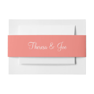 Coral Pink Exclusive Full Color Invitation Belly Band