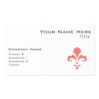 Coral Pink Fleur de lis Business Cards