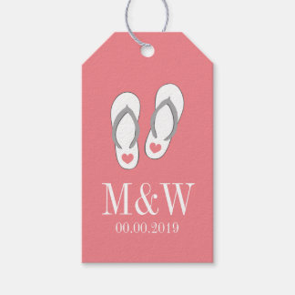 Coral pink flip flop beach wedding favor gift tags