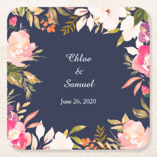 Coral Pink Floral Border on Navy Blue Wedding Square Paper Coaster