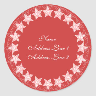Coral Pink Floral Circle Address Labels Round Sticker