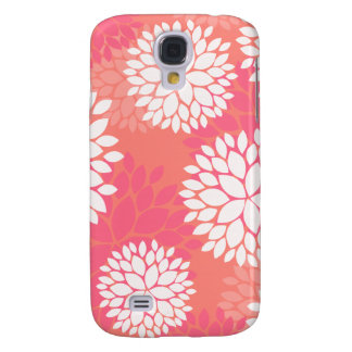 Coral Pink Flowers Samsung Galaxy S4 Cases