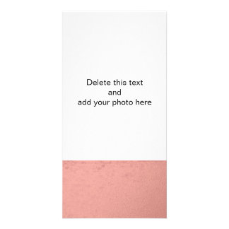 Coral Pink Foil Printed Photo Card