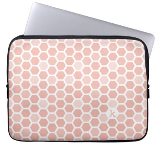 Coral Pink Geo Hexagon Pattern Monogram Laptop Sleeve