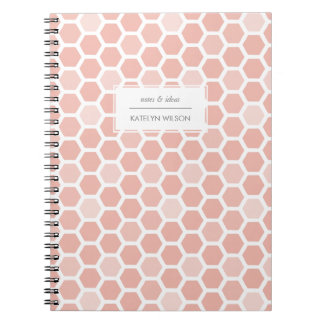 Coral Pink Geo Hexagon Pattern Notebooks