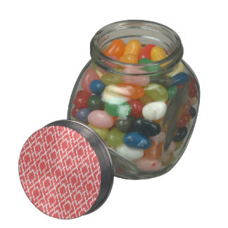 Coral Pink Geometric Tribal Ikat Diamond Pattern Jelly Belly Candy Jar