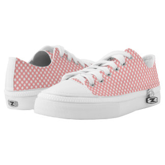 Coral Pink Gingham Pattern Zipz Shoes