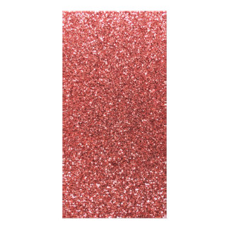 Coral pink glitter photo greeting card