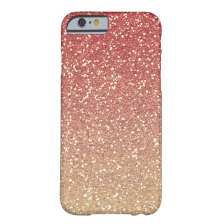 Coral Pink Gold Faux Glitter Barely There iPhone 6 Case