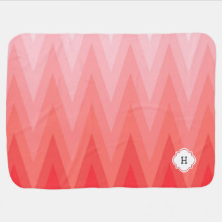 Coral Pink Gradient Ombre Chevron Pattern Monogram Receiving Blanket