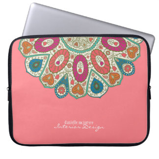 Coral Pink Hand Drawn Henna Circle Pattern Design Laptop Sleeve