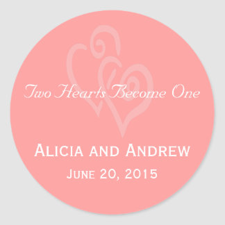 Coral Pink Hearts Wedding Favour Stickers
