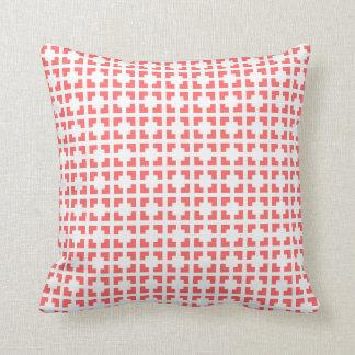 Coral pink lattice trellis pattern throw pillow