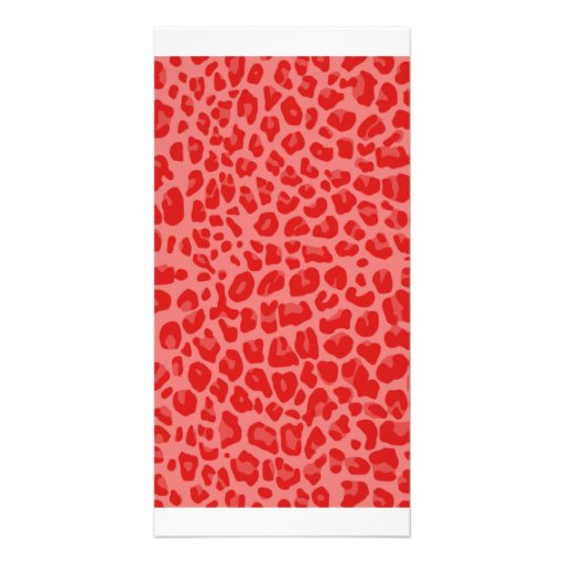 Coral pink leopard print pattern photo card template