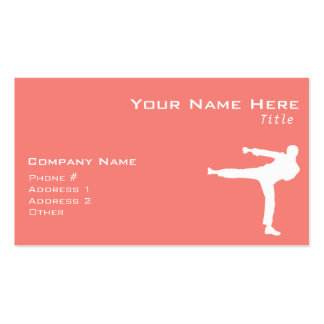 Coral Pink Martial Arts Pack Of Standard Business Cards