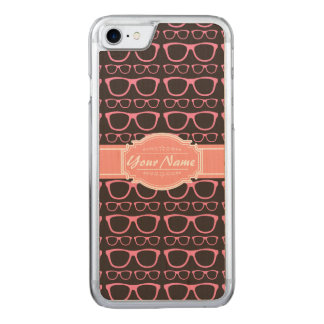 Coral Pink Nerd Glasses Carved iPhone 7 Case