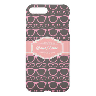 Coral Pink Nerd Glasses Personalized iPhone 7 Plus Case