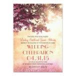 Coral pink oak tree & love birds wedding invites 13 cm x 18 cm invitation card
