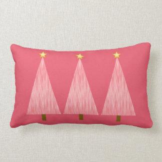 Coral Pink Ombre modern Christmas trees Lumbar Pillow