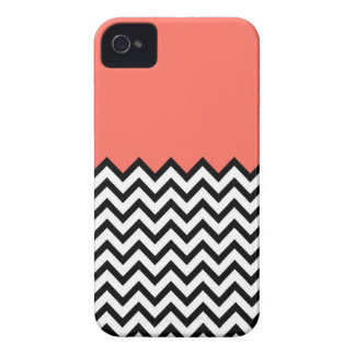 Coral Pink Peach Color Block Chevron iPhone 4 Case