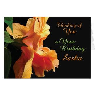 Coral Pink, Peach Orange Hibiscus Flower Birthday Card