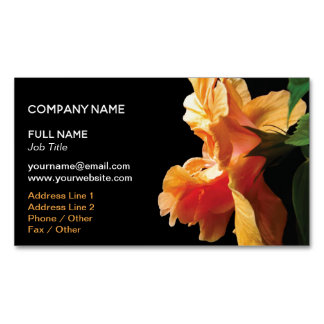 Coral Pink, Peach Orange Hibiscus Flower Magnetic Business Card