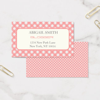 Coral Pink Plaid Print Business Card
