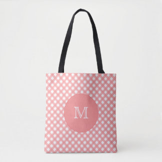 Coral Pink Plaid Print |  Monogram Tote Bag