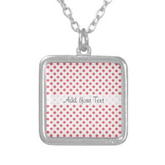 Coral Pink Polka Dots by Shirley Taylor Silver Plated Necklace