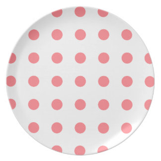 Coral Pink Polka Dots on White Dinner Plate