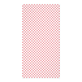 Coral Pink Polka Dots Customised Photo Card