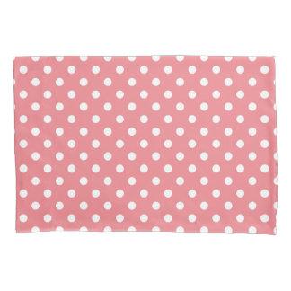 Coral pink polka dots pillowcase cover sleeve