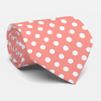 Coral Pink Polka Dots Tie