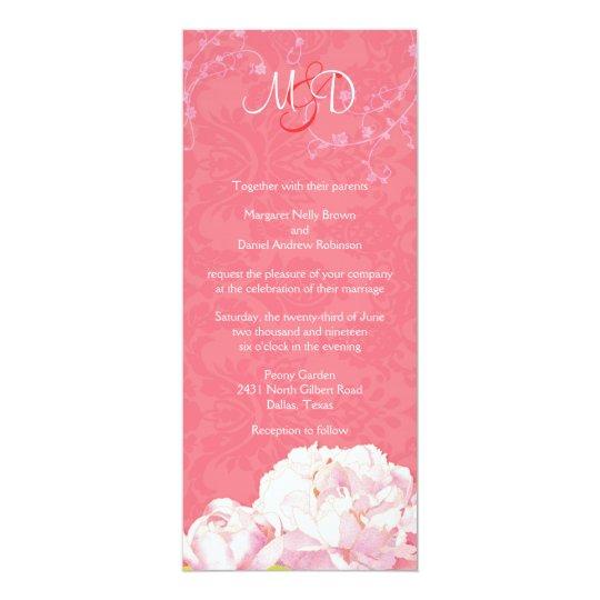 Coral Pink Posh Peony Monogram Wedding Card