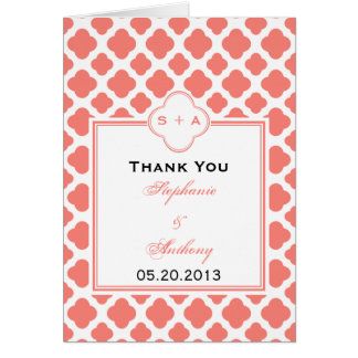 Coral Pink Quatrefoil Pattern Wedding Thank You Card