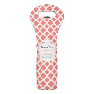 Coral Pink Quatrefoil Pattern Wedding Thank You Wine Bag
