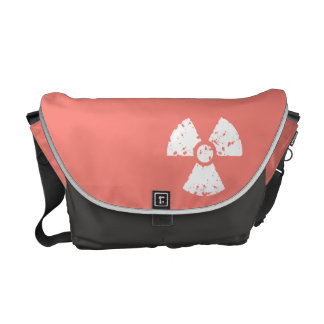 Coral Pink Radioactive symbol Messenger Bags